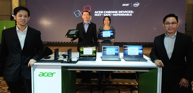 Photo 4 Acer Malaysia products team and representative from Google Malaysia with the newly launched Acer Chrome devices L-R Eddy Tee, Chan, Rahayu Ramli, Andy