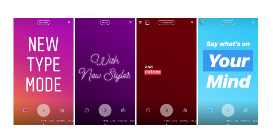 Instagram Introducing Type Mode in Stories