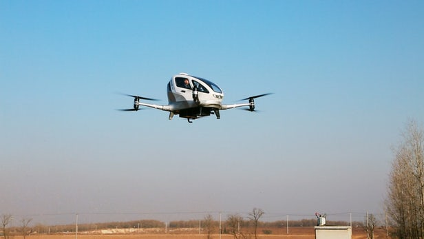 Ehang flying taxi shown lifting passengers into the air for the first time