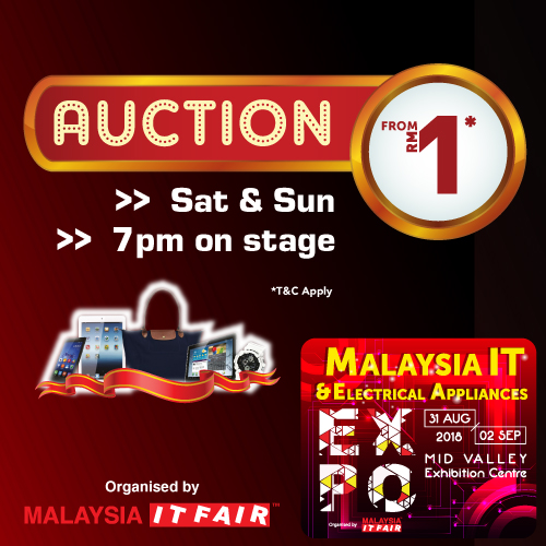 AUCTION@Malaysia IT & Electrical Appliances EXPO 31 AUG-2 SEPT 2018