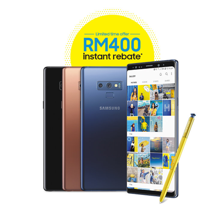 Get instant rebate of RM400 with purchase of Samsung Galaxy Note 9