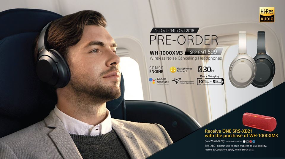 Pre-Order for Sony WH-1000XM3 Wireless Noise Cancelling Headphones with free XB21 EXTRA BASS Portable Bluetooth Speaker