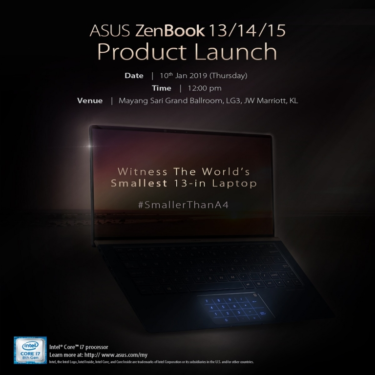 New ASUS ZenBook 13 will launch in Malaysia on 10 January 2019