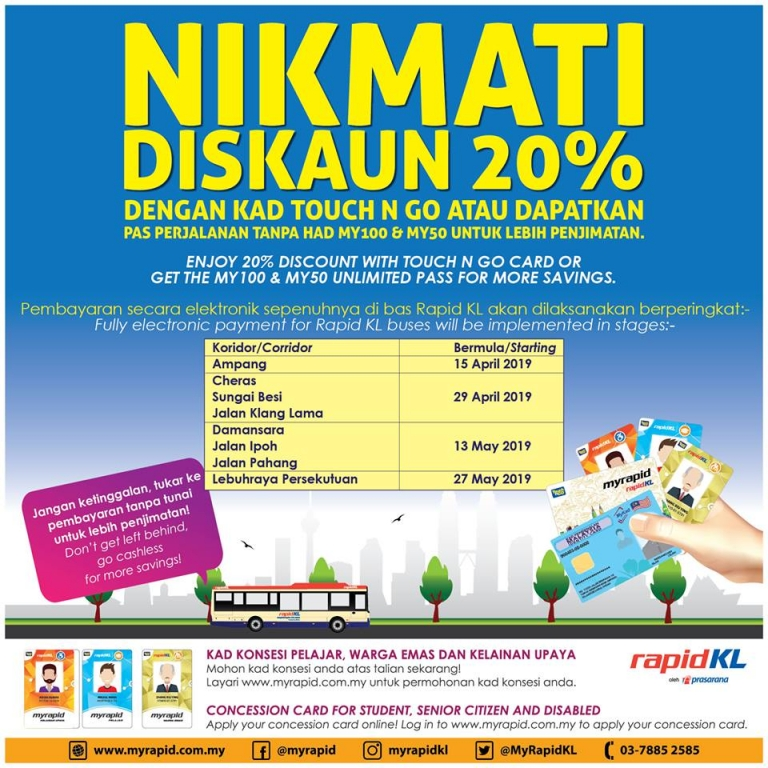 Cashless for Rapid KL Bus from 15 April 2019!